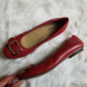 Vaneli Womens Red Ballet SlipOn Flats Shoes Sz 9.5